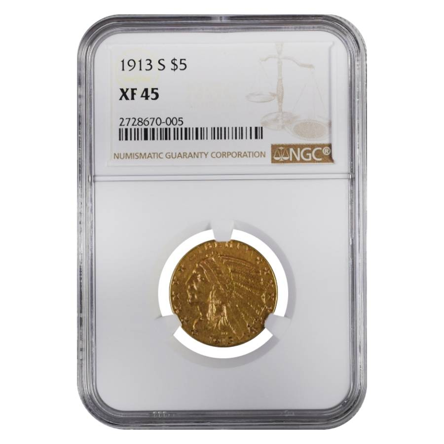 1913 S $5 Indian Head Half Eagle Gold Coin NGC XF 45
