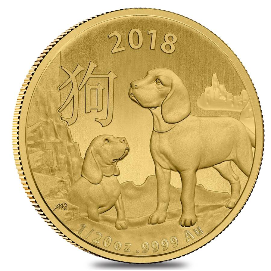 1//20 oz 2018 Perth Mint Lunar Year of the Dog Gold Coin
