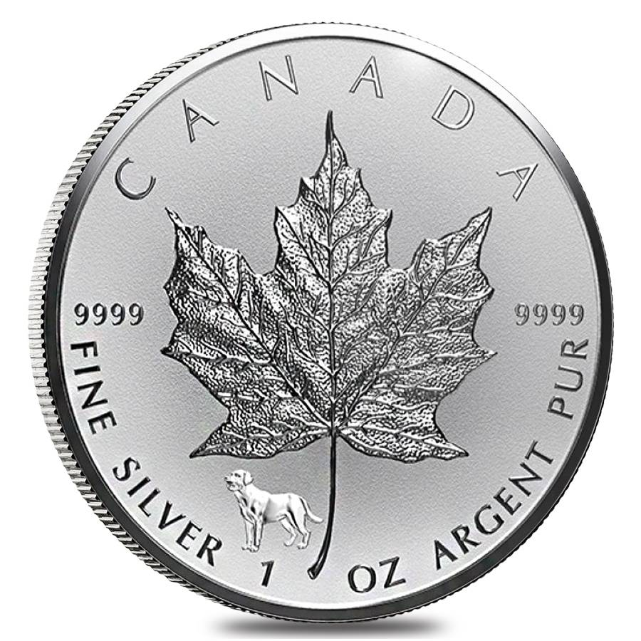 2018 1 Oz Silver Canadian Maple Leaf Lunar Dog Privy Coin