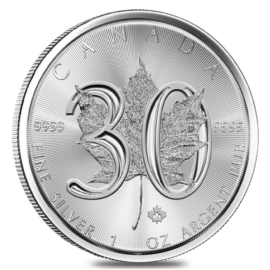 2018 1 Oz Silver Maple Leaf Coin 30th Anniv Bullion
