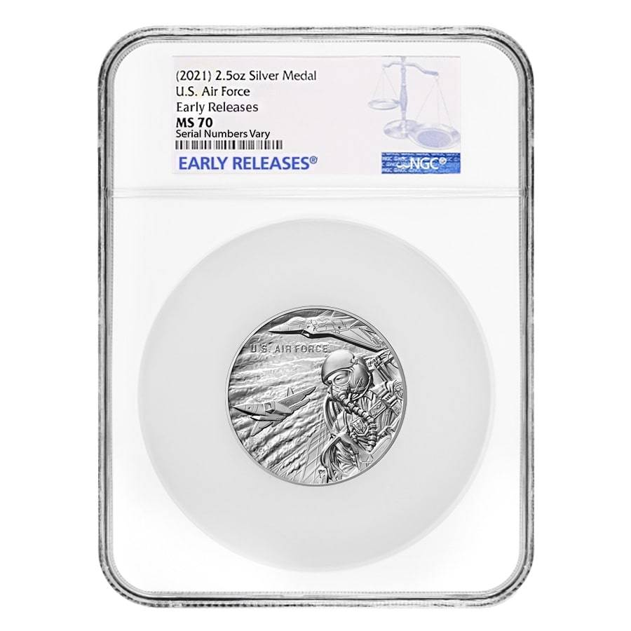 2.5 oz US Air Force Silver Medal NGC MS 70 Early Releases