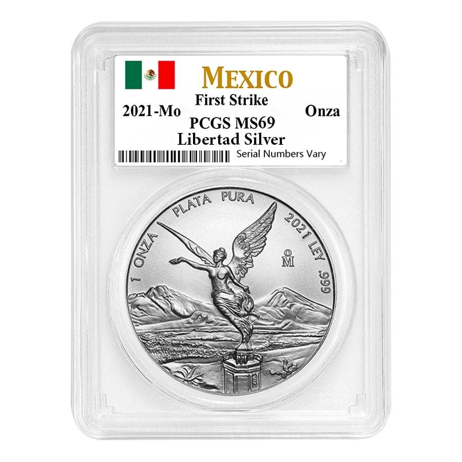 2021 1 oz Mexican Silver Libertad Coin PCGS MS 69 First Strike