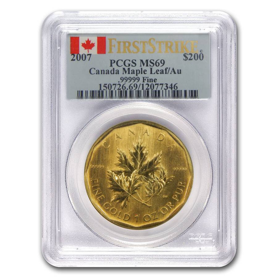 2007 1 oz Gold Maple Leaf PCGS MS69 FS | Bullion Exchanges