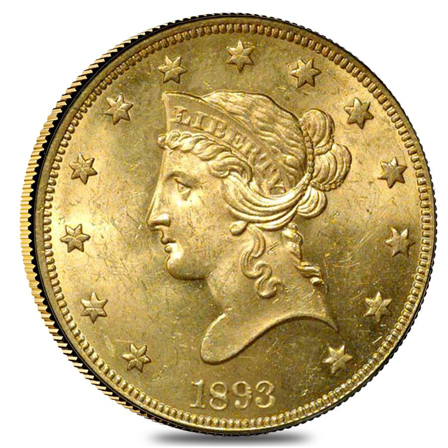 1893 10 Liberty Head Gold Eagle Coin Ngc Ms 61