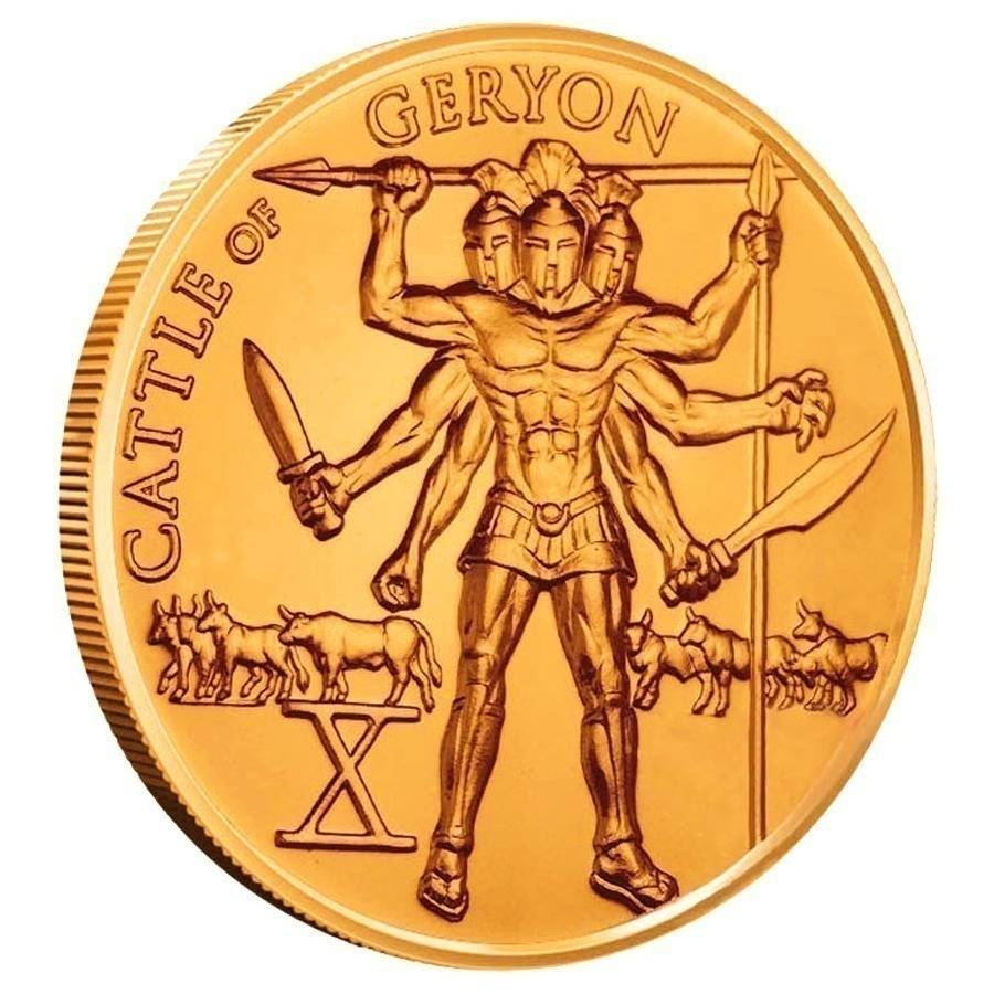1 Oz Hercules Tenth Labor Cattle Of Geryon Copper Round