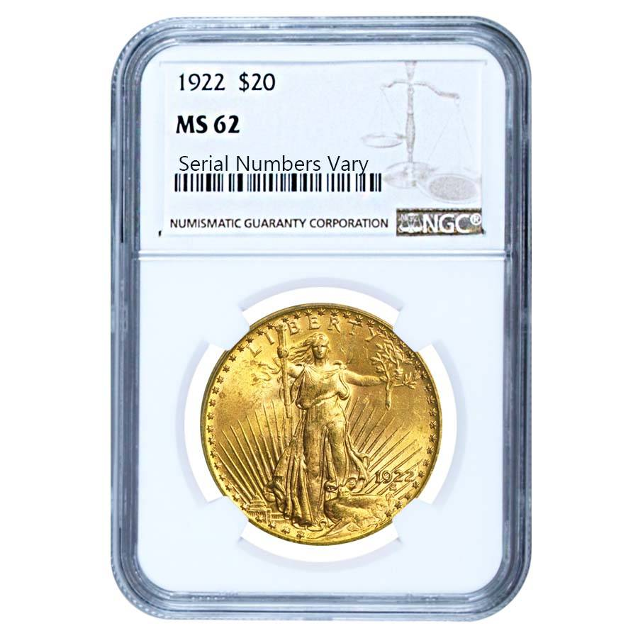 1922 20 Gold St Gaudens Double Eagle Coin Ngc Ms 62
