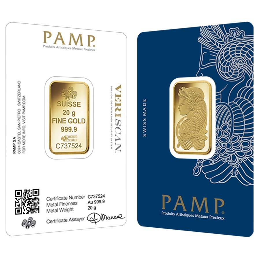 20 Gram Gold Bar Pamp Suisse Lady Fortuna Veriscan 9999 Fine In Ay
