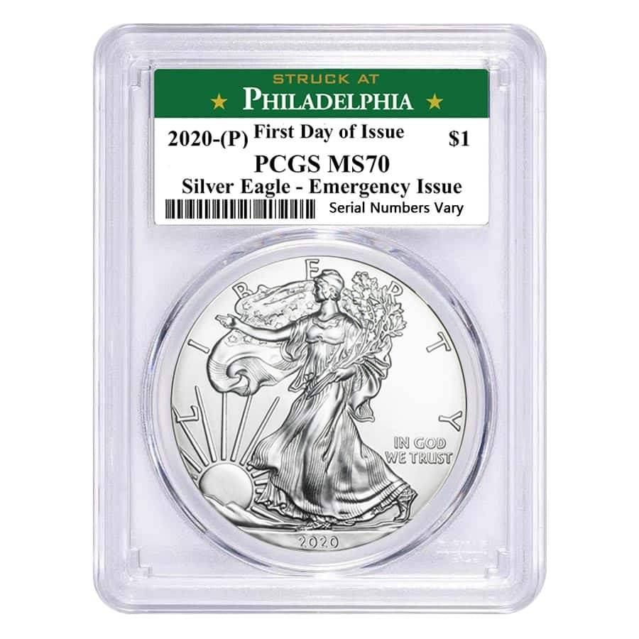 2020 (P) 1 oz Silver American Eagle PCGS MS 70 FDOI (Philadelphia) Emergency Issue