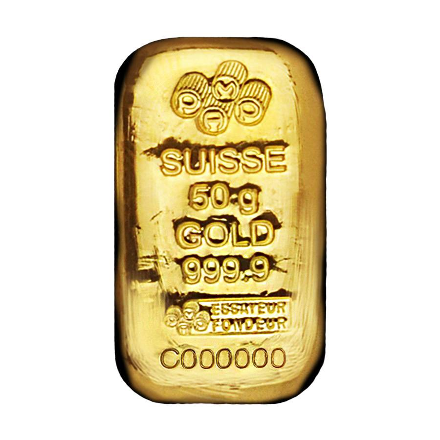 50 Gram Gold Bar Pamp Suisse 9999 Fine Cast W Ay