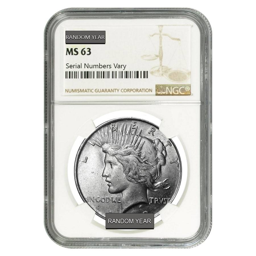 NGC MS63 1922 US Peace Silver Dollar $1