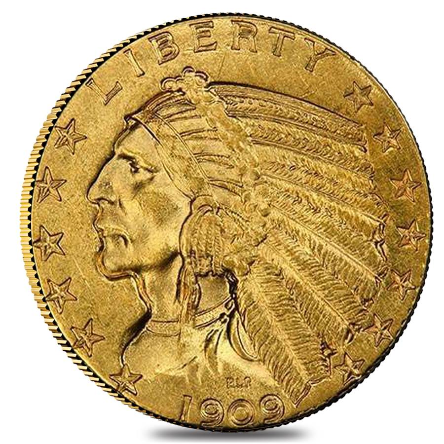 1909 D 5 Gold Half Eagle Indian Head Ngc Ms 61