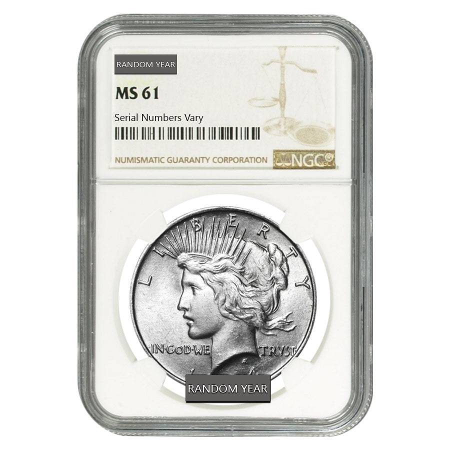 1922 $1 Silver Peace Dollar NGC MS61