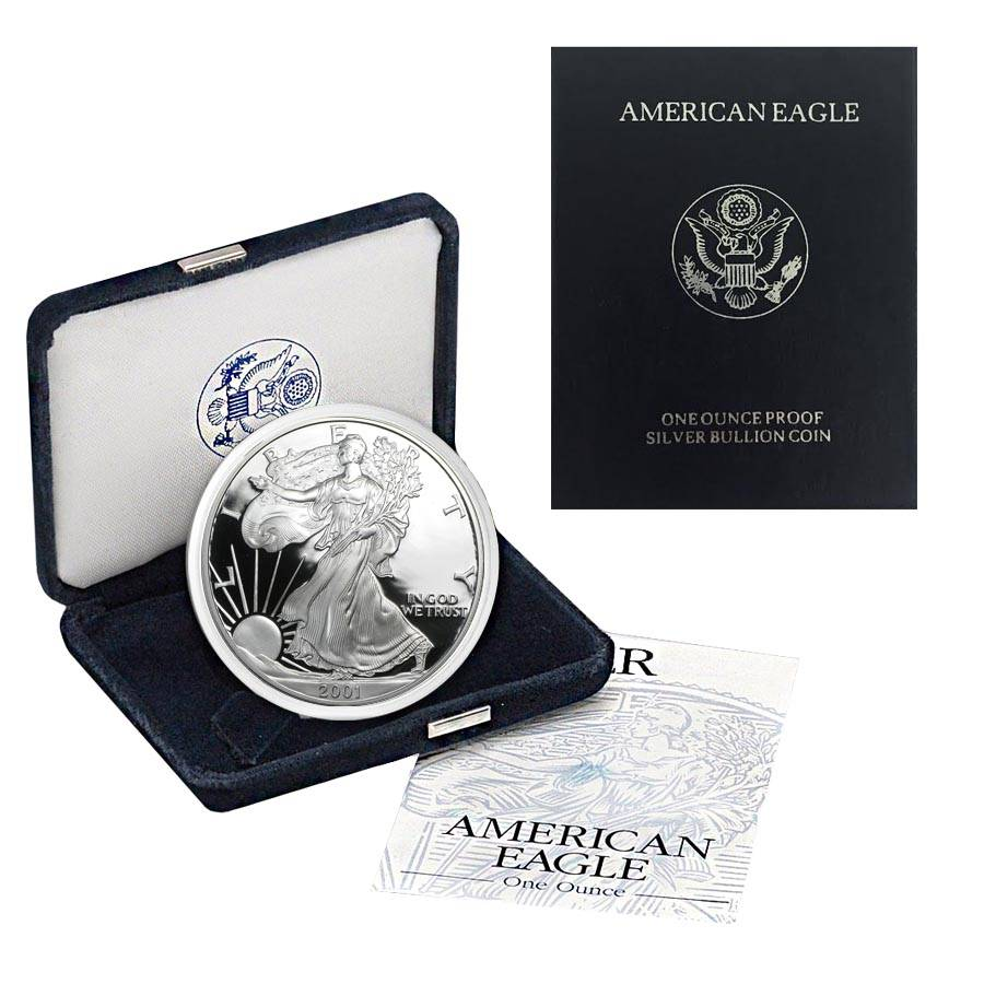 2001 W 1 Oz Proof Silver American Eagle W Box Amp Coa