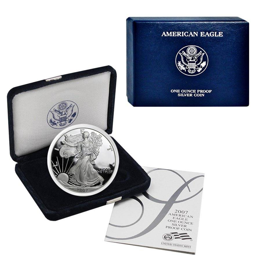 2007 W 1 oz Burnished SILVER EAGLE in original box w//coa