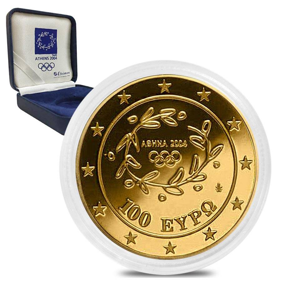 2004 Athens Gold Proof 100 Euro Olympic Games Bullion