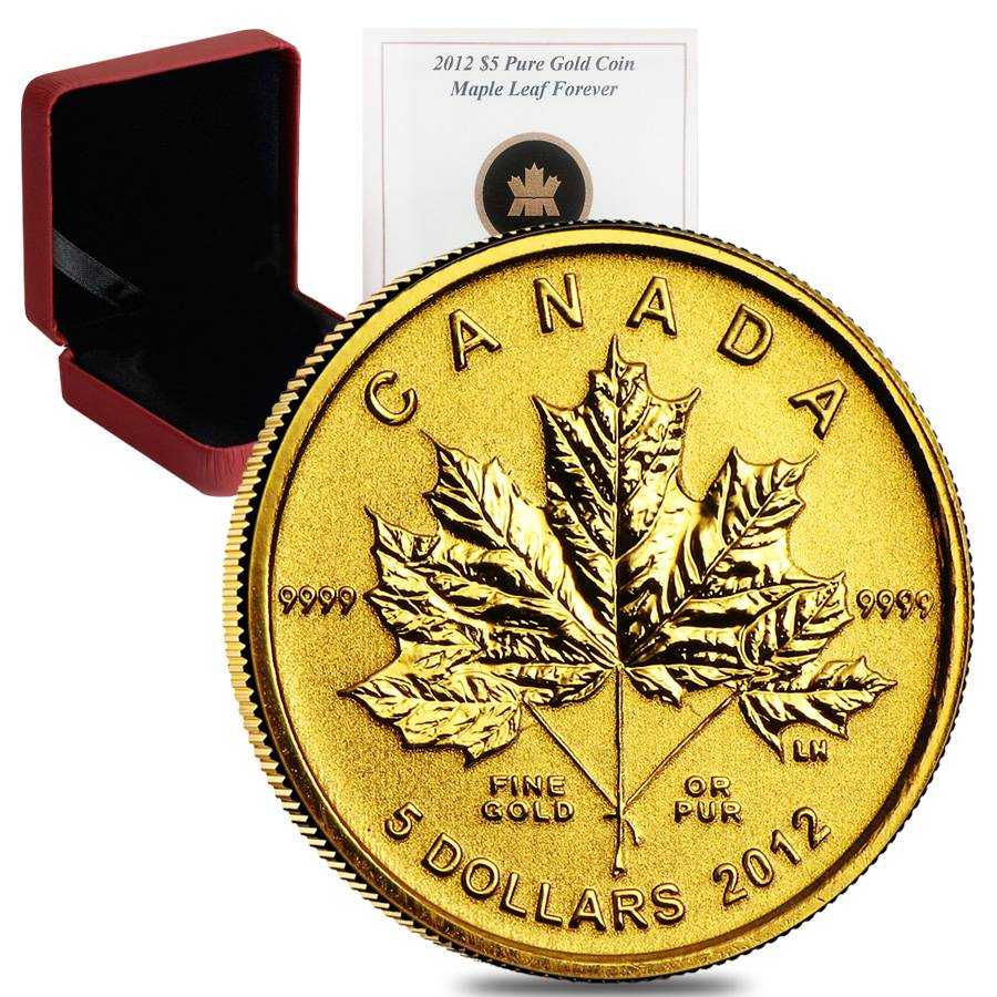 2012 1 10 Oz Gold Canadian Maple Leaf Forever 5 Coin