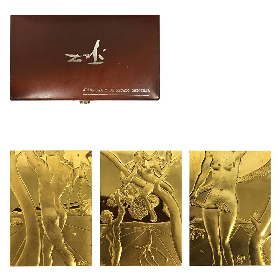 7919cfaf927 1981 3 oz Gold Salvador Dali Adam Eve and The Original Sin 3-Medal Set .999  Fine (w/Box)
