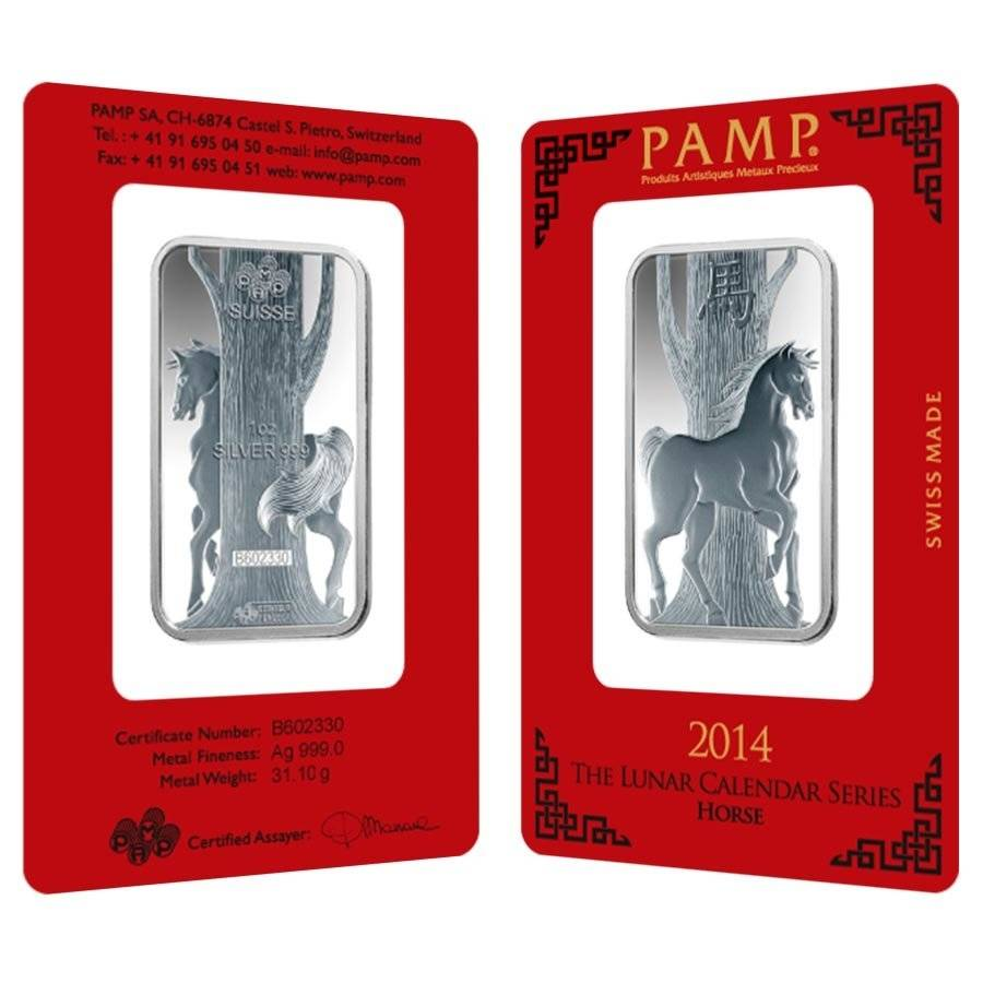 1 Oz Pamp Suisse Year Of The Horse Silver Bar In Assay