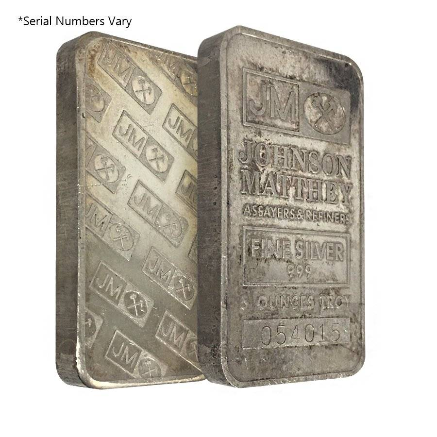 5 Oz Johnson Matthey Silver Vintage Bar Bullion Exchanges