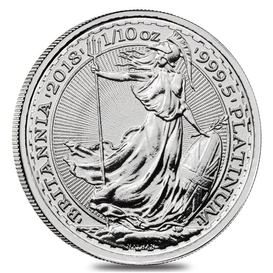 2018 Great Britain 1/10 oz Platinum Britannia Coin .9995 Fine BU