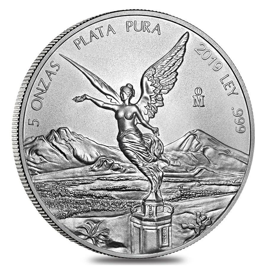 2019 Mexico Libertad 5 oz BU Mexican Silver Coin in direct fit capsule
