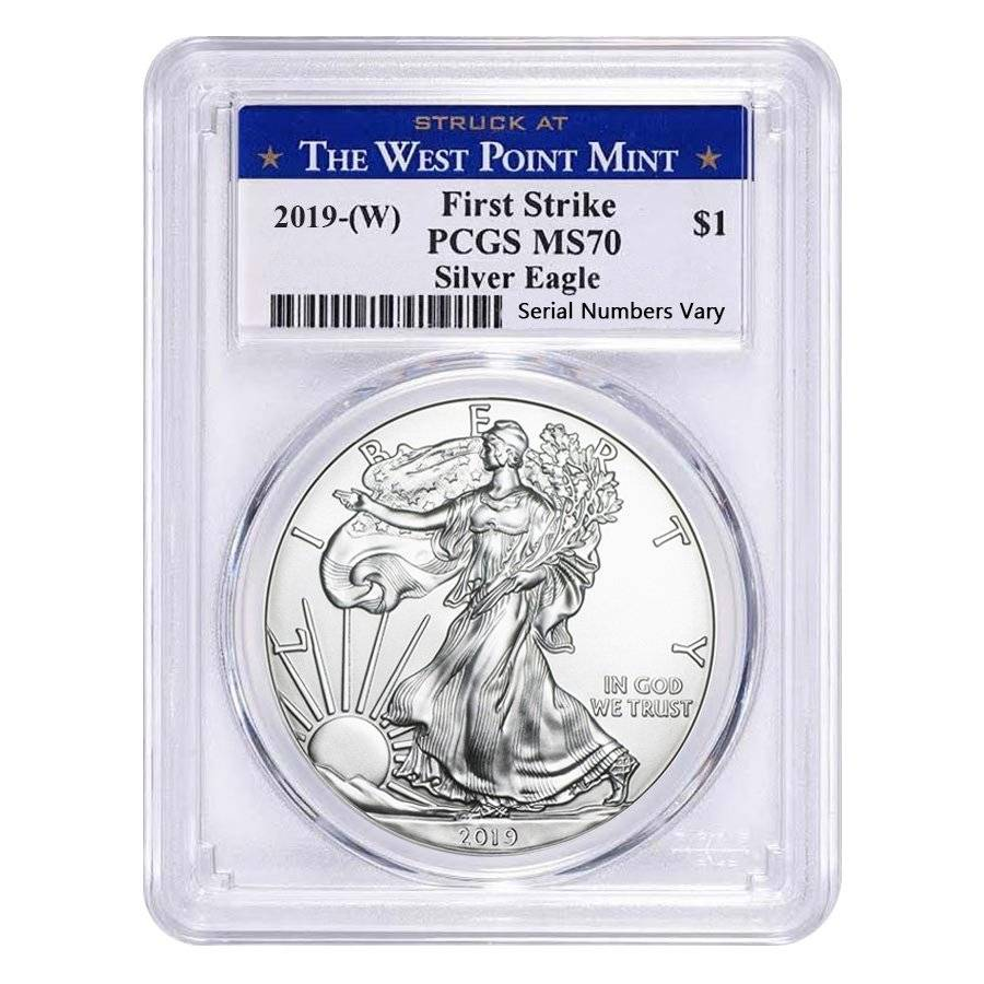 2019 1 oz Silver American Eagle $1 Coin PCGS MS 70 First Strike Flag Label