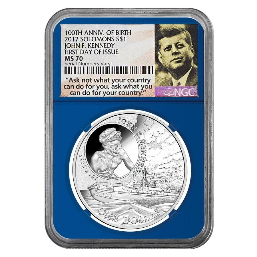 2017 1 oz Silver JFK Solomon Islands NGC MS 70 FDOI First Day of Issue (JFK Ask Not Label Blue)