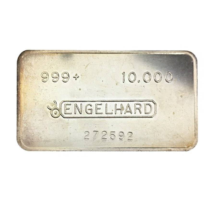 10 Oz Engelhard Silver Bar Bull Logo Smooth Machined Finish