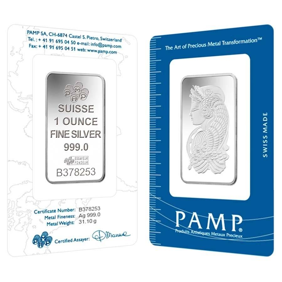 1 oz PAMP Suisse Lady Fortuna Silver Bar .999 Fine (In Assay)