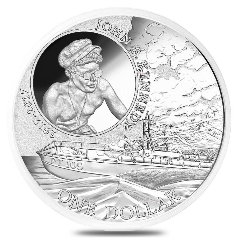 2017 1 oz Silver John F. Kennedy JFK Solomon Islands $1 Coin .999 Fine (In Cap) - 100th Anniv. JFK PT109