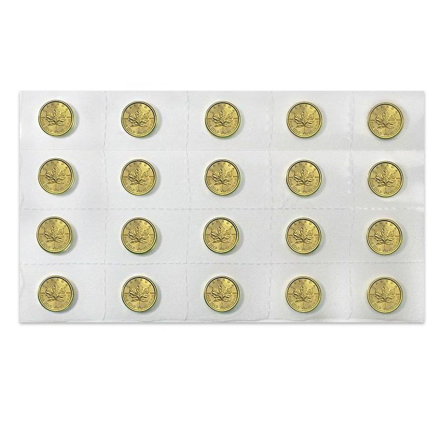 CND #1 1//2 oz GOLD MAPLE LEAFS pkg of 5 CANADIAN COIN CAPSULES  25 mm