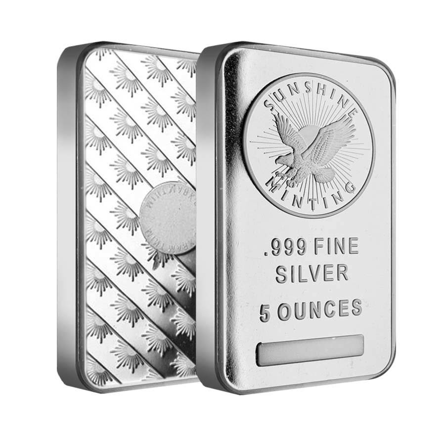 Sealed 5 oz Silver Sunshine Mint Bar .999 Fine