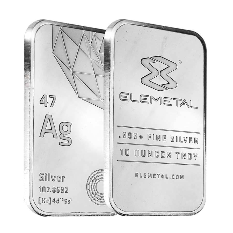 Elemetal Mint 10 Oz Silver Bar 999 Fine Sealed