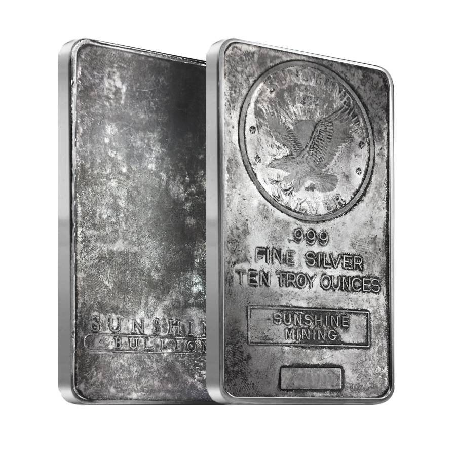 10 Oz Sunshine Mint Vintage Silver Bar 999 Bullion