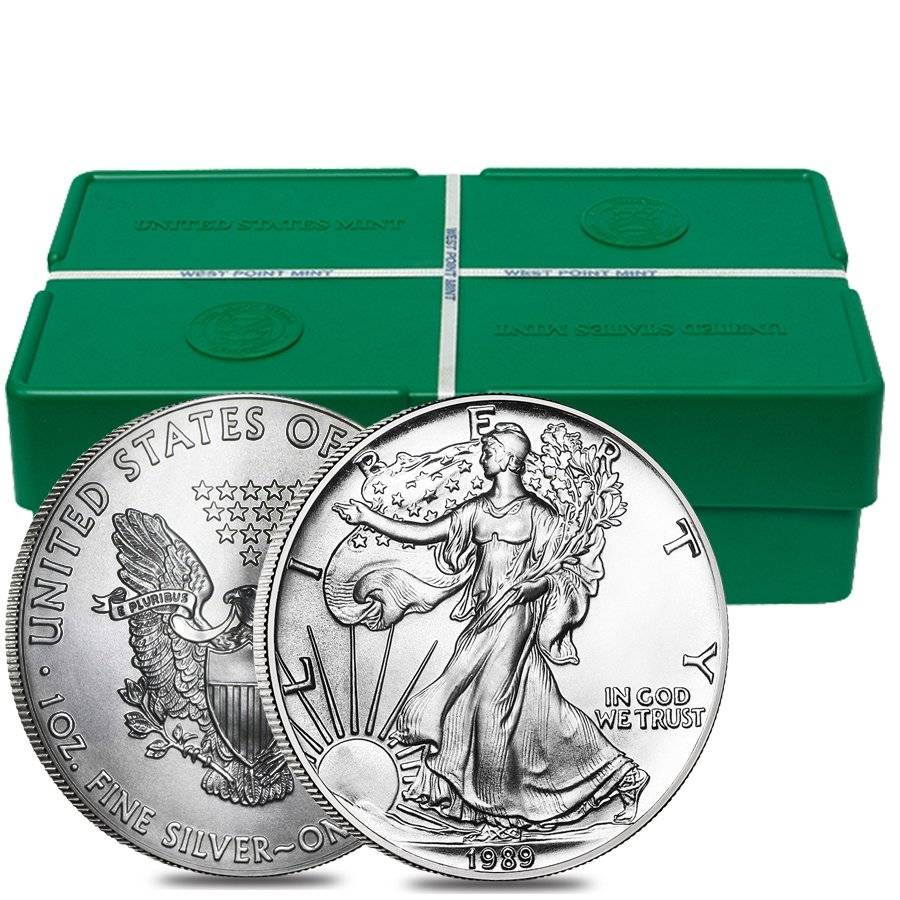 Roll Of 20 1989 1 Oz Silver Eagles Brilliant Uncirculated