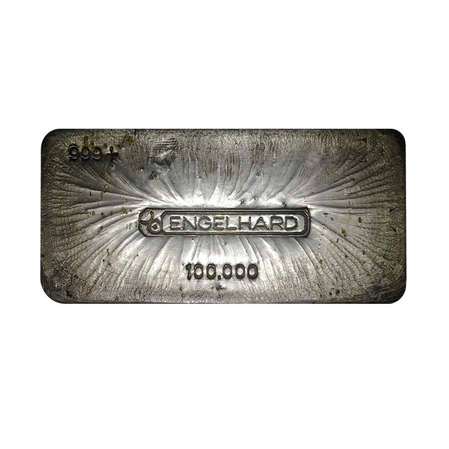 100 Oz Engelhard Old Hand Poured Silver Bar Bullion
