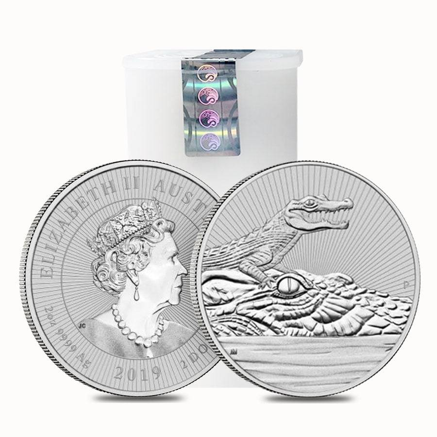 2019 2 Oz Silver Piedfort Crocodile Next Gen Bullion