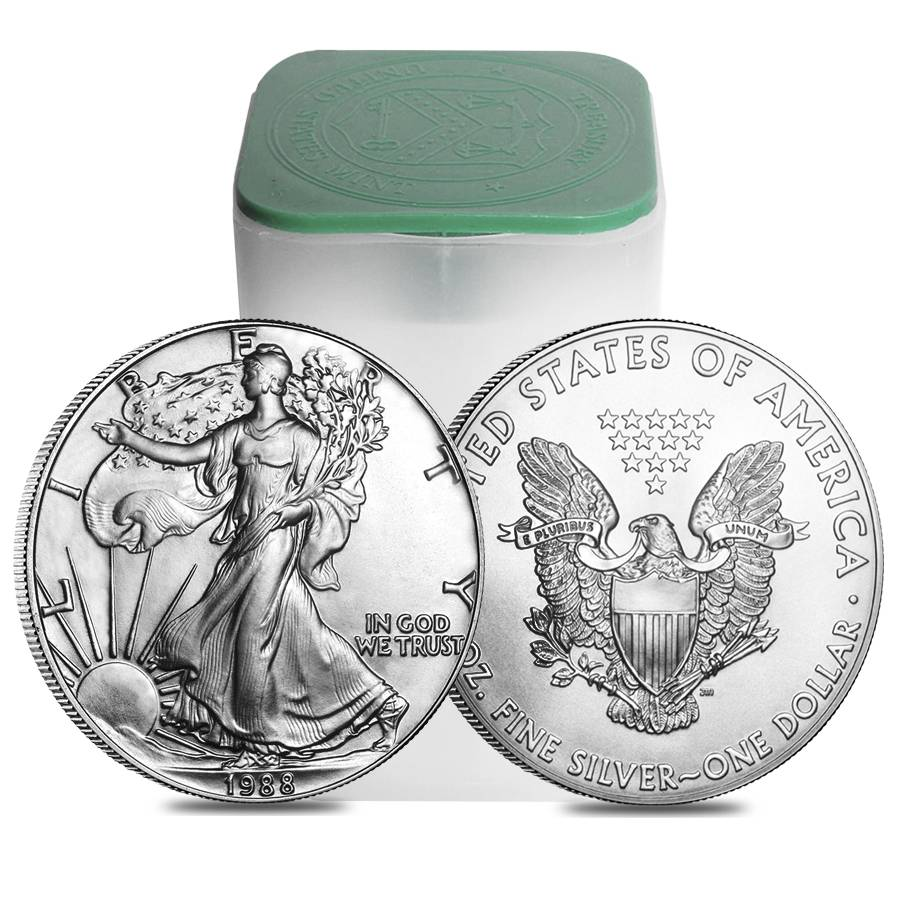 Roll Of 20 1988 1 Oz Silver American Eagle Brilliant
