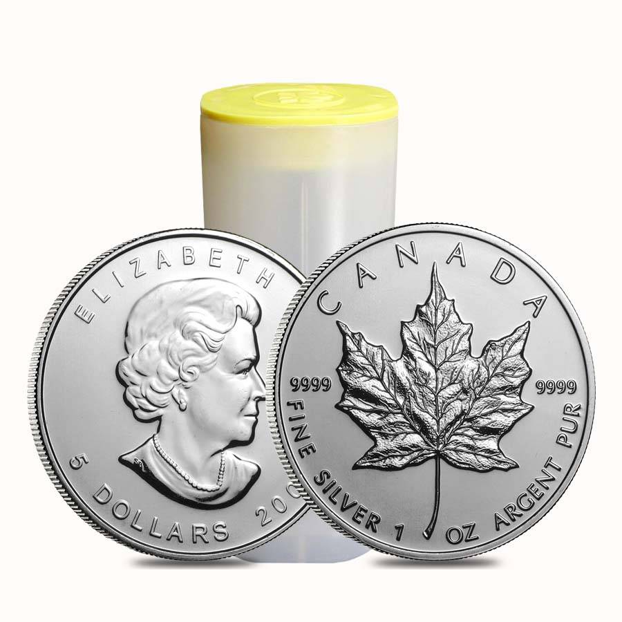 Roll Of 25 2009 1 Oz Silver Canadian Maple Leaf 9999