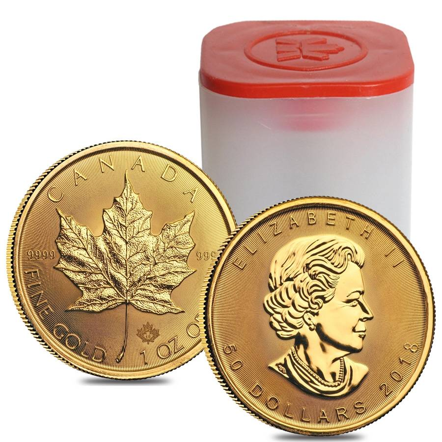2018 1 Oz Canadian Gold Maple Leaf 50 Coin 9999 Fine Bu