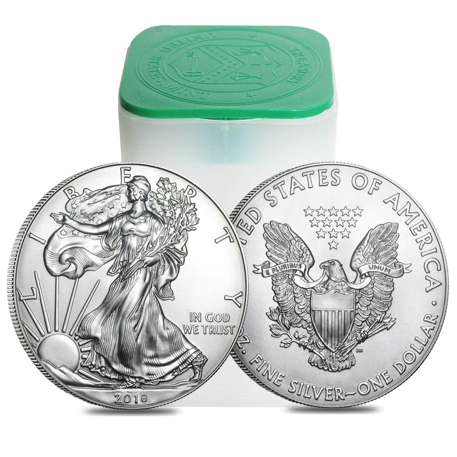 Roll Of 20 2018 1 Oz Silver Eagle Coin Bu Bullion
