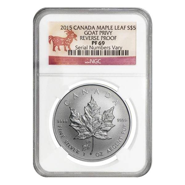 2015 Canadian Maple Leaf Sheep Goat Privy 1 oz .9999 Silver Coin Reverse Proof