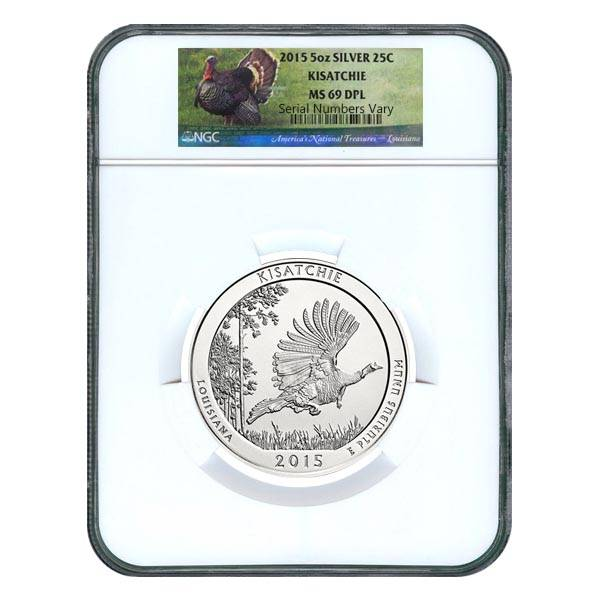 2015 5 oz  Silver Kisatchie National Forest Coin Bullion In Capsule