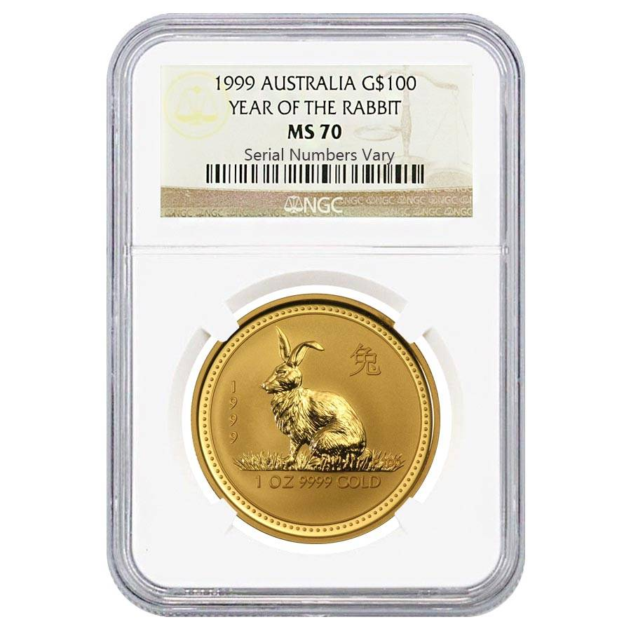 1999 1 oz 100 gold lunar year of the rabbit perth mint ngc ms 70. Black Bedroom Furniture Sets. Home Design Ideas