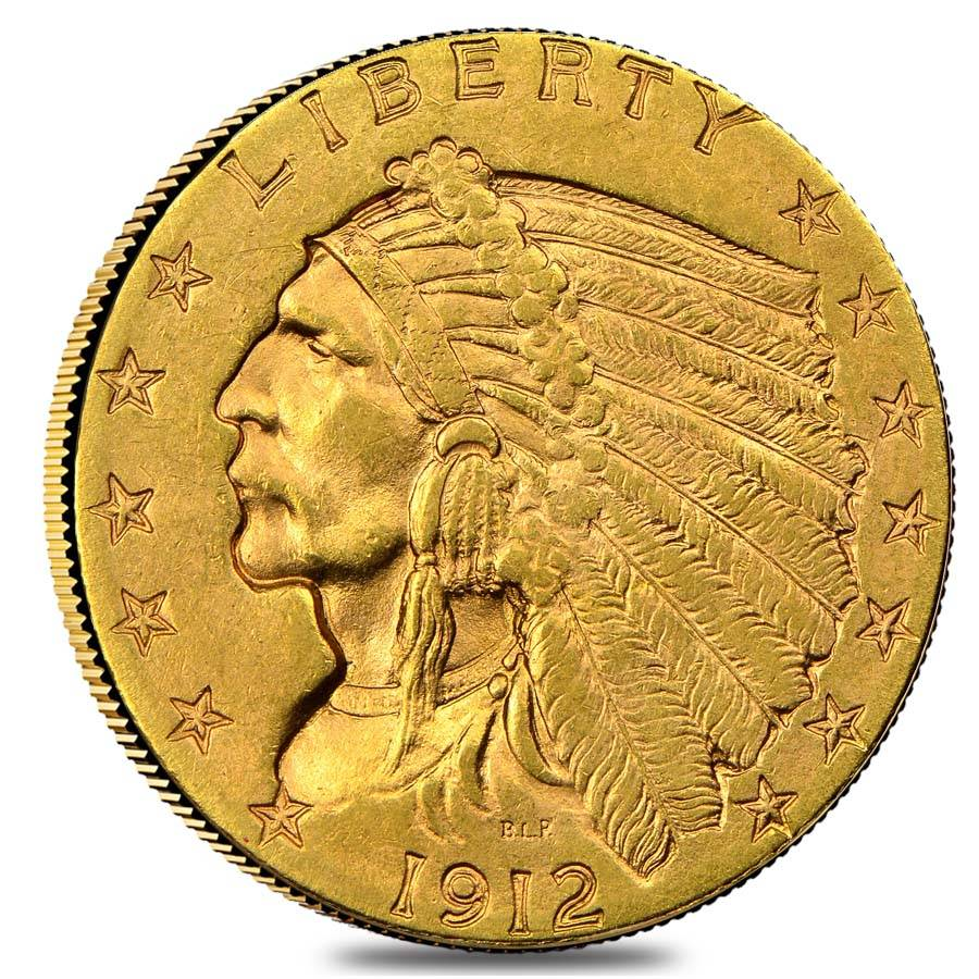 1912 2 5 Indian Head Gold Quarter Eagle Coin Ngc Ms 61