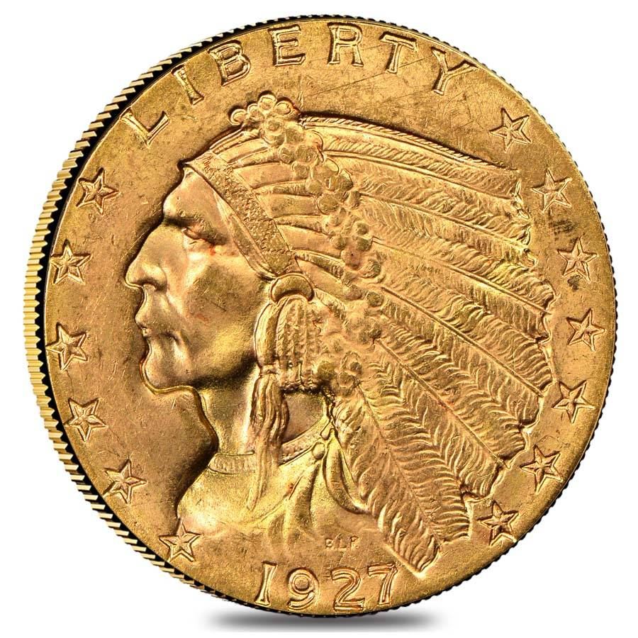 1927 2 5 Gold Quarter Eagle Indian Head Coin Ngc Ms 63