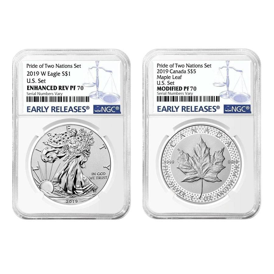 Eagle Enhanced Reverse Proof//Maple Leaf Confirmed 2019 Pride of Two Nations