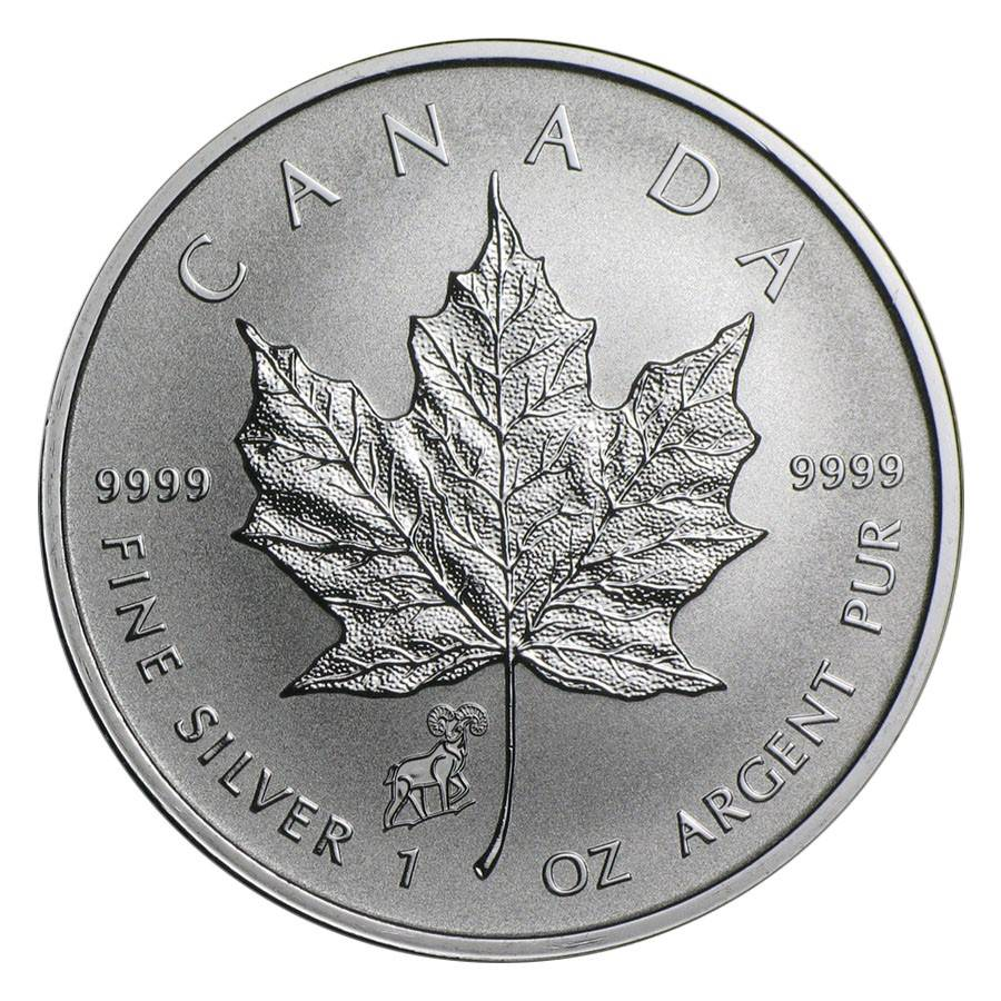 2015 1 oz Canadian Silver Maple Leaf Lunar Goat Privy ...