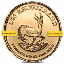 1/10 oz South African Gold Krugerrand Gold Coin (Random Year)