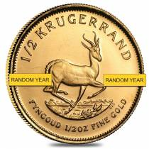 1/2 oz South African Gold Krugerrand Gold Coin (Random Year)